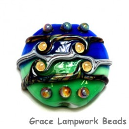 11810802 - Green & Blue w/Yellow Strips Lentil Focal Bead