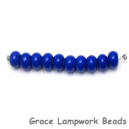 SP004 - Ten Opaque Royal Blue Rondelle Spacer Beads