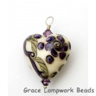 HP-11806605 - Ivory w/Purple & Beige Stringer Heart Pendant