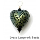 HP-11808005 - Green Pearl Surface w/Blk Heart Pendant