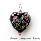 HP-11809905 - Black w/Pink Flower Heart Pendant