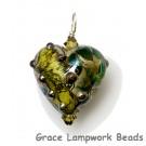 HP-11816305 -  Dark Green w/Silver Foil Heart Pendant