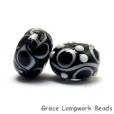 10200801 - Black & White Roundel Venetian Glass Beads