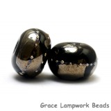 10204101 - Seven Elegant Black Metallic Rondelle Beads
