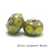 10505001 - Seven Pear Green w/Metal Dots Rondelle Beads
