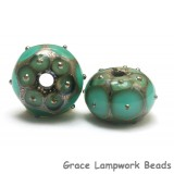 10505101 - Seven Ocean Green w/Metal Dots Rondelle Beads