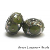 10505301 - Seven Pine Green w/Metal Dots Rondelle Beads