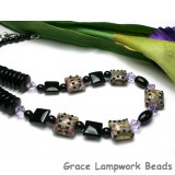 10601404 - Necklace using Purple w/Black Dots Pillow Beads