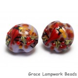 11007712 - Four Autumn Red Cardinal Lentil Beads
