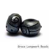 11205001 - Seven Gray Pearl Surface w/Black Rondelle Beads