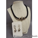 LC-Classic Black and Khaki Kumihimo Necklace and Earrings