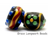 10201201 - Fiesta Rondelle Venetian Glass Beads 7pcs