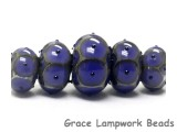 10407811 - Five Graduated Purple w/Black Dots Rondelle Beads