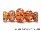 10504711 - Five Graduated Green & Orange Rondelle Beads