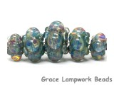 10601911 - Five Graduated Blue Boro Rondelle Beads
