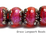 10706721 - Six Passion Pink Shimmer Rondelle Beads