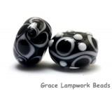 10200801 - Black & White Roundel Venetian Glass Beads