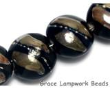 10204102 - Seven Elegant Black Metallic Lentil Beads