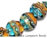 10405502 - Seven  Aqua w/Light Brown Lentil Beads