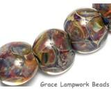 10408102 - Seven Blue-green & Purple Lentil Beads