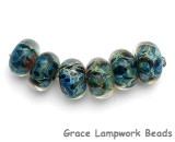 10408201 - Six Blues Free Style Boro Rondelle Beads
