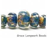 10409311 - Five Graduated Blue & Orange Rondelle Beads