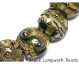 10503402 - Seven Green w/Silver Foil Lentil Beads
