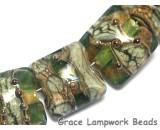 10503404 - Seven Green w/Silver Foil Pillow Beads