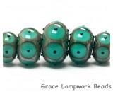 10503801 - Five Graduated Ocean Green w/Black Dots Rondelle Beads