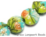 10504302 - Seven White w/Orange Flora  Lentil Beads