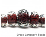 10702711 - Five Graduated Red Core w/Black Strips Rondelle Beads