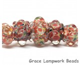 11005711 - Five Graduated OrangeRed & Green Rondelle Beads