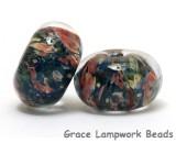 11006621 - Six Multi-color w/Blue & Orange Rondelle Beads