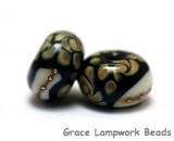 11105001 - Seven Black/Ivory &amp; Beige Rondelle Beads