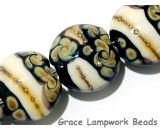 11105012 - Four Black/Ivory & Beige Lentil Beads