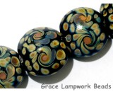 11200802 - Seven Black w/Twisted Beige Dots Lentil Beads
