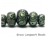 11203811 - Five Grad Green Pearl Surface w/Black Rondelle Beads