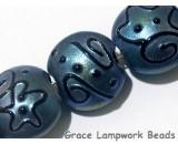 11204302 - Seven Blue Pearl Surface w/Black String Lentil Beads