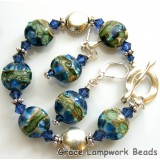 10406502 Deep Ocean Blue w/Silver Bracelet & Earrings