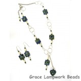 10406504 Deep Ocean Blue w/Silver Necklace & Earring Set