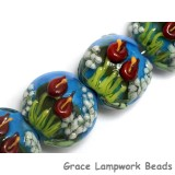10414112 - Four Red Calla Lily Lake Lentil Beads