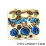 11803904 - Ivory w/Blue & Beige Stringer Pillow Focal Bead