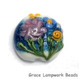 11809402 - Blue w/Pink Raised Flower Lentil Focal Bead