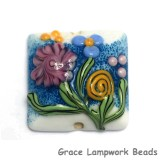 11809404 - Blue w/Pink Raised Flower Pillow Focal Bead
