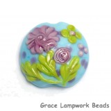11811402 - Blue w/Pink Flower Lentil Focal Bead