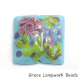 11811404 - Blue w/Pink Flower Pillow Focal Bead