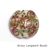 11812802 - Light Pink w/Metal Stringer Lentil Focal Bead