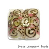 11812804 D - Light Pink w/Metal Stringer Pillow Focal Bead