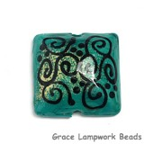 11813304 - Green w/Beige Powder Pillow Focal Bead