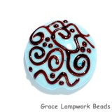 11814202 -  Turquoise w/Brown Stringer Lentil Focal Bead